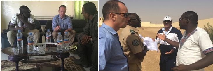 L'équipe du Projet d'appui à la Sécurité et au Développement  reçue par le colonel Sidi-Mahmoud Taleb OuldJiyeb, commandant l'école de la Garde nationale de Rosso (photo de gauche) et par le colonel Dey Ould Bamba OuldYezid, commandant l'école de gendarmerie de Rosso (photo de droite)