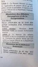 fac similé du JO avec la nomination de Jemal Mohamed